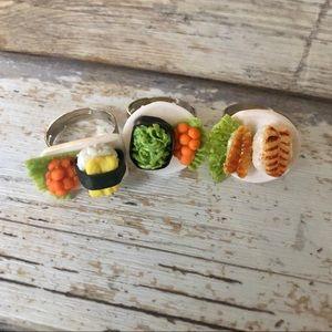 NEW✨ Bundle of 3 Handmade Mini Sushi Plate Rings